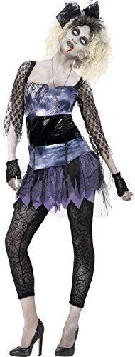 Damen-zombie 80er Jahre 1980er Jahre Madonna Pop Punk Halloween Kostüm Kleid Outfit - Schwarz, (1980er Jahre Kostüme Für Kinder)