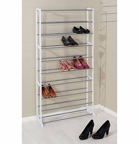 Meinposten XXL Schuhregal mit 10 Ebenen Schuhschrank 140x72 cm Weiß Stahl bis 40 Schuhpaare