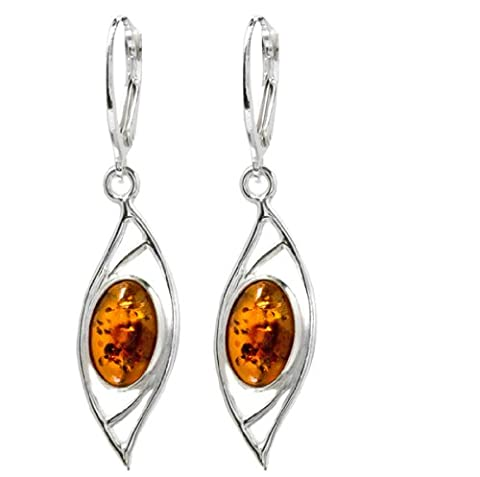 Baltic Honey Amber and Sterling Silver Oval Leverback Earrings