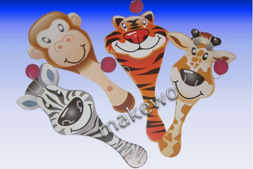im Beutel, Holzschläger mit Ball an Gummi, Zootiere, Wildtiere, Dschungeltiere, Zebra, Tiger, Giraffe, Affe (Paddle Ball-paddel)