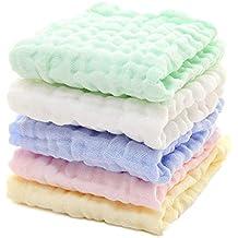 F. Lashes Baby cuadrada – Manopla naturales algodón muselina Toallitas suave para recién nacido bebé