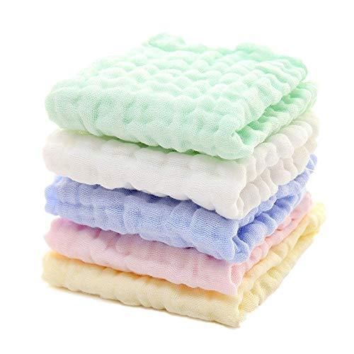 5er-Pack Handtücher Spucktuch 30 x 30 cm Klein | 100% Weiche Baumwolle | Hygienischer als Mikrofaser | Schnelltrocknend | Super für Kinder & Babys