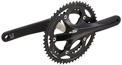 Shimano 105 Kurbelgarnitur 2x10 FC-5700, schwarz schwarz schwarz 52/39 Chainrings x 175 mm Crank (Shimano 105 Lagerschalen)