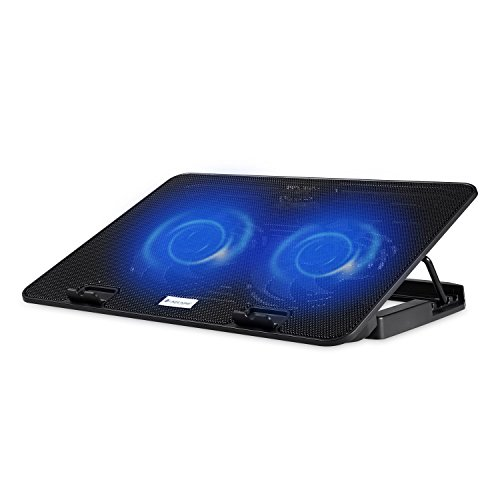 NSinc Lapcare ChillMate, Laptop Cooler and Stand, Ergonomic and Durable, High Power Dual Fan, with 2 USB Port, Adjustable Angle, Black Colour, with 1 Year Brand Warranty