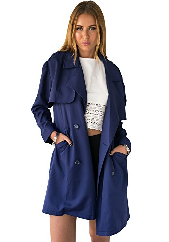LookbookStore da donna casual basic Navy Doppio Petto Trench Navy 38