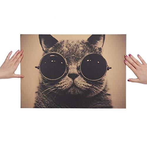 Sonnenbrille Rock Animal Kraftpapier Bar Poster Retro Poster dekorative Malerei Wandaufkleber ()