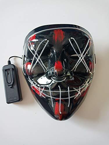 Wbdd Maske Halloween Maske Led Leuchten Party Masken Neon Cosplay Mascara Horror Glühen In Dunklen Masque V Für Vendetta weiß