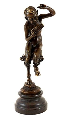 Kunst & Ambiente - Bronzefigur - Tanzender Satyr mit Panflöte - Jules Jacques Labatut - signiert - Satyr Skulptur - Faun Bronzeskulptur - Figur