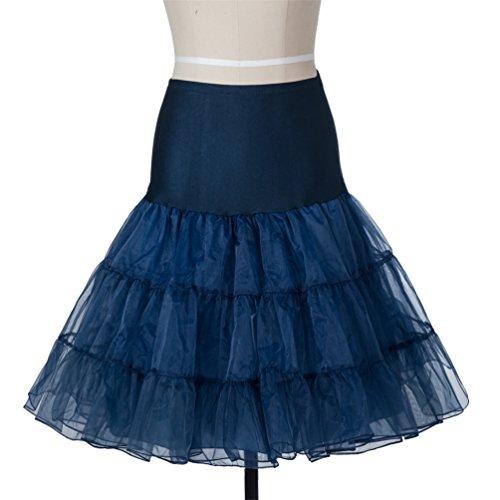 Lyshi 50er Petticoat Vintage Retro Reifrock Unterrock für Wedding bridal Rockabilly Kleider Marineblau