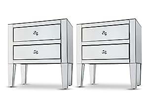 table de chevet 2 tiroirs bois pack of 2. Black Bedroom Furniture Sets. Home Design Ideas