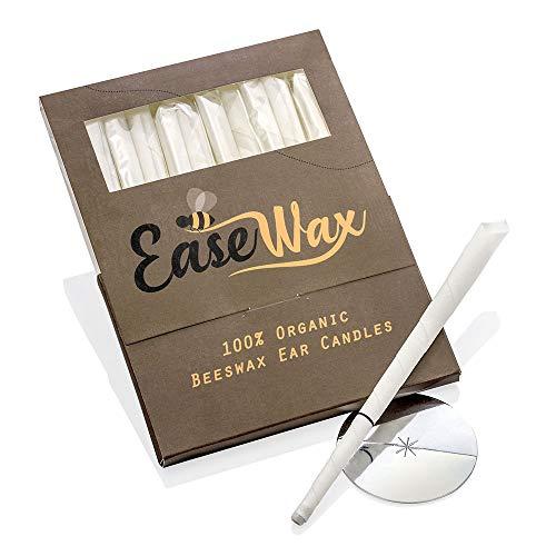 EaseWax, candele auricolari di cera d'api naturale e biologica Hopi, specificamente create pensando a te. Sollievo terapeutico dal dolore delle orecchie, 6paia di colore bianco