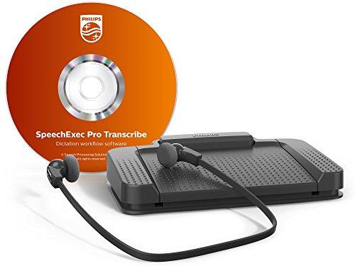 photo Philips lecture Kit, ergonomique USB Pédale acc2330, sous le menton stéréo casque lfh0334, de lecture de logiciels, reconnaissance vocale Interface, anthracite LFH7277 - Professionnel