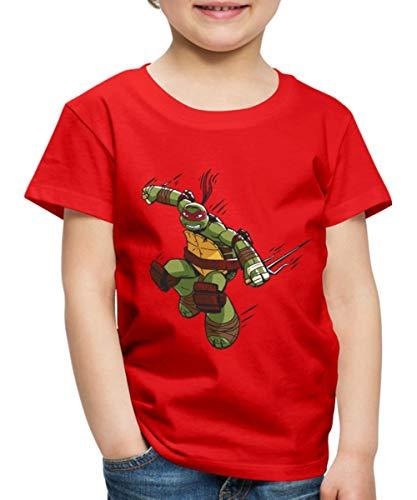 Spreadshirt TMNT Turtles Raphael Greift An Kinder Premium T-Shirt, 110/116 (4 Jahre), Rot