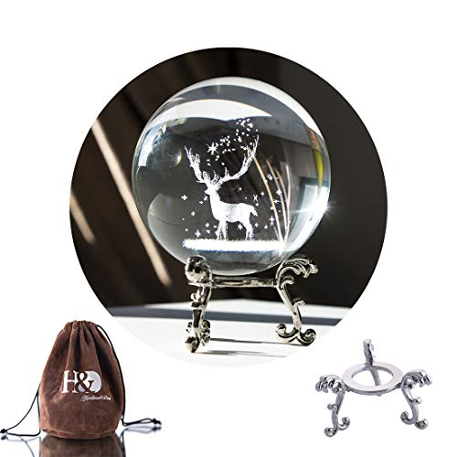 Geschnitzt Ball (H&D Kristall Foto Objektiv Ball mit Tasche Glaskugel Display Geschnitzte Hirsche Briefbeschwerer Heilmeditationsball)