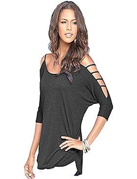 QianSheng - Camiseta de mujer, con manga 3/4, hombro caído, diseño de verano, color sólido, algodón, negro, XL