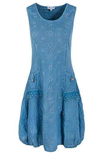 PEKIVESSA Leinenkleid Damen mit Stickerei Sommer Knielang Jeansblau 44 (Herstellergröße XXL) (Leinen 100 Damen-kleider)