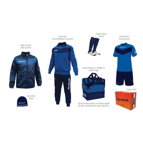 Givova Box Vittoria Kit Completo Calcio, Royal/Blu, L