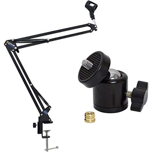 """keepdrum NB35BK Gelenkarm-Mikrofonstativ + Kugelgelenk Stativ-Adapter drehbar 1/4"""" zu 3/8"""""""