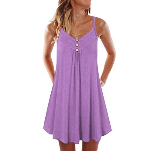 Cinderella Teen Kostüm - iHENGH Damen Top Bluse Bequem Lässig Mode T-Shirt Blusen Frauen Sleeveless Spaghetti Strap Zweireiher Plain Shift Kleid(Pink, 4XL)