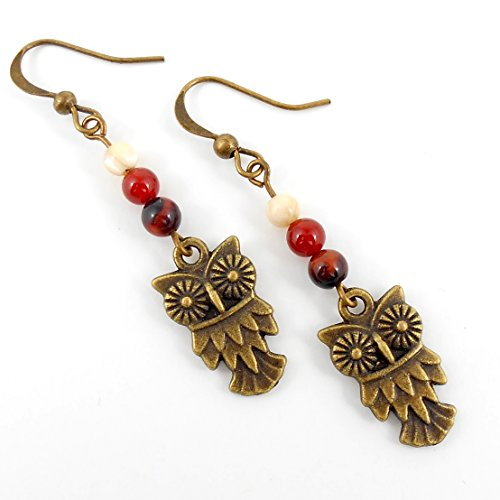 bronze-owl-earrings-with-mixed-natural-gemstones-includes-gift-box