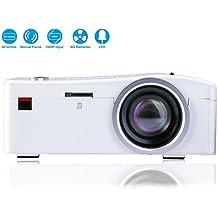Mini Proyector, Deeplee LED LCD Proyector Cine en casa Teatro con USB/SD/AV/HDMI entrada para Vídeo Movie Gaming Proyector -Blanco