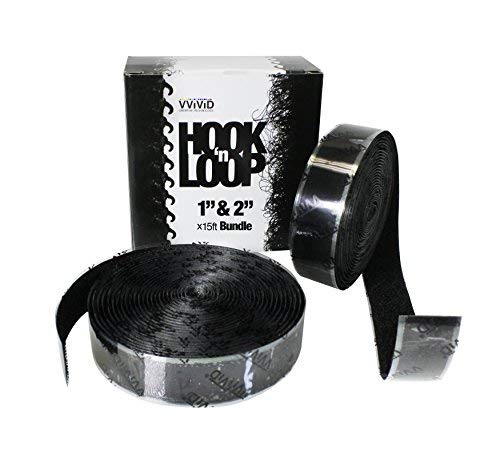 Haken 'n Loop Super Industrieller Stärke Verschluss Klebeband schwarz 2,5cm & 5,1cm X 15ft komplett Bundle 2in Loop Tape
