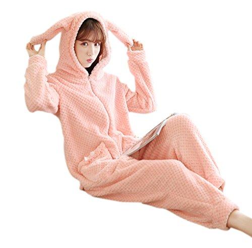 Honeystore Jumpsuit Hase Karton Fasching Halloween Kostüm Sleepsuit Cosplay Flanell Pyjama Schlafanzug Erwachsene Unisex Nachtwäsche Rosa L
