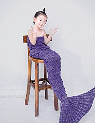 Handmade Knitted Mermaid Tail Blanket,Geekshopalbert All Seasons Warm Bed Blanket Sofa Quilt Living Room Sleeping Bag for Kids and Adults - inexpensive UK light store.