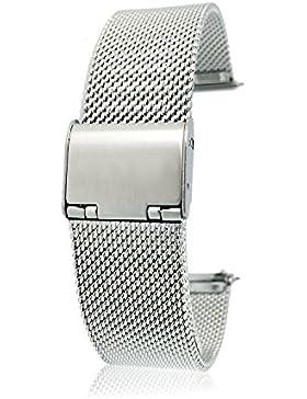Premium Uhrenarmband 14mm silber aus Edelstahl für Damen und Herren   Mesh Milanaise Metall Armband für Uhren...
