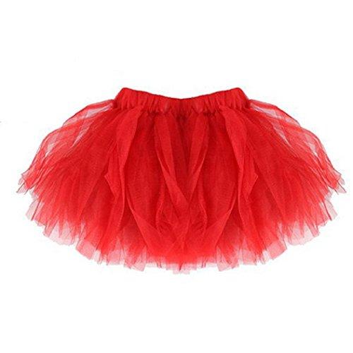 Rovinci Nette phantastische Partei-Rock-Baby-Mädchen-Zicklein Qualität gefaltete Tutu Ballett-Röcke (rot)