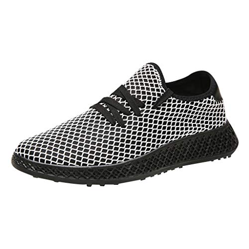 SHE.White Herren Kariert Einfarbig Beiläufiges Sneaker Fitness Laufschuhe Atmungsaktiv Sportschuhe Leichte Dämpfung Leichte Lauf Gehen Schuhe (Karierte Sneakers)