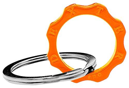 Dexter milano time machine portachiavi ed anello brisè ingranaggio, in acciaio con elemento in plexyglass, arancio