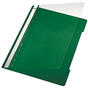 Leitz A4 Standard Plastic File, Pack of 25, 250 Sheet Capacity, Green, 41910055
