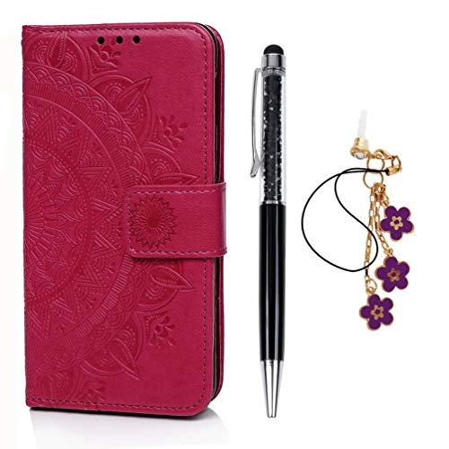Mlorras Hülle für Samsung Galaxy S10e 5.8 Zoll, Geprägte Totemblume Vorne schnallen Leder Handyhülle Klappbares Brieftasche Schutzhülle Wallet Case Cover mit Integrierten Kartensteckplätzen Rose rot -