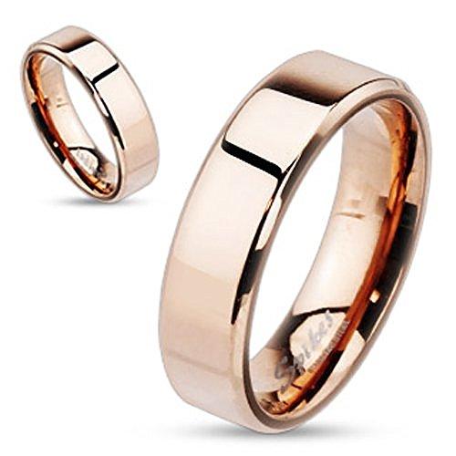 Damen Herren Ring Edelstahl Partnerring Ehering Verlobungsring Bandring rosegold 62 - Ø 19,76 mm 6 mm