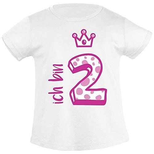 Mädchen Shirt Geburtstag (Shirtgeil Ich bin Zwei Krone 2 Geburtstag Mädchen T-Shirt 86/94 (1-2J) Weiß)