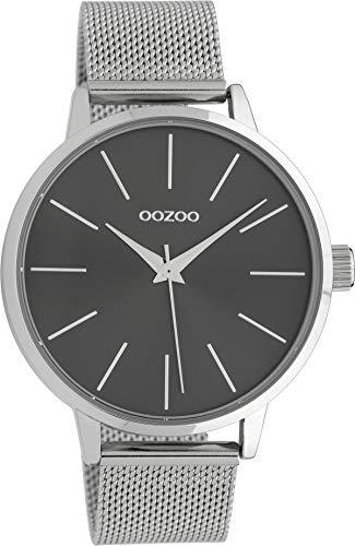 Oozoo Damenuhr mit Edelstahl Milanaise Metallband 42 MM Silbergrau/Silberfarben C10007