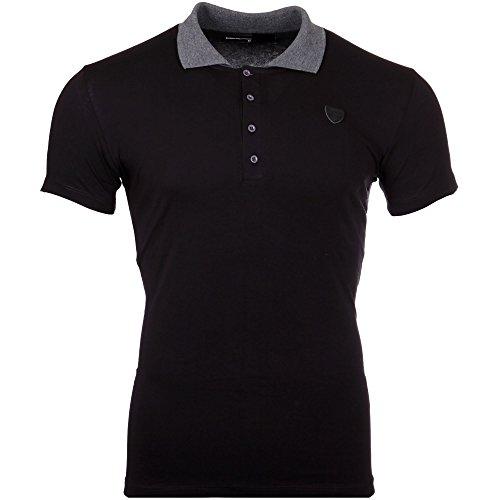 Reslad T-Shirt Herren Poloshirt Kontrast Polo-kragen Kurzarm Shirt RS-5001 Schwarz
