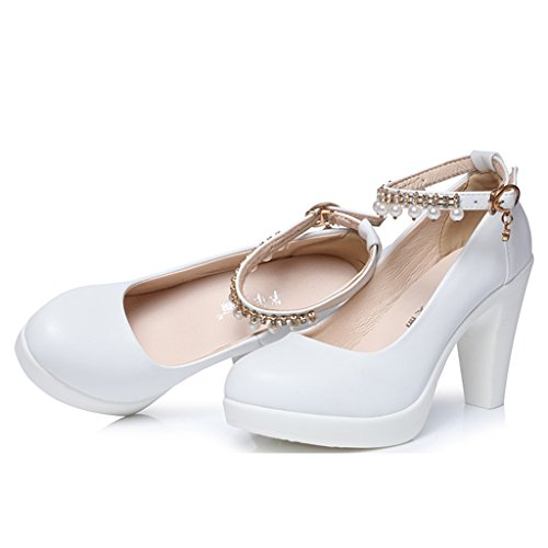 Single shoes - female scarpe da donna ruvide con plateau scarpe da sposa banchetto bianco tacchi alti (colore : high 8cm, dimensioni : 39-shoes long245mm)