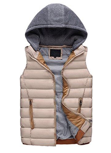 Panegy Doudoune Ultra Légère Veste Manteau Sans manches Fermeture Zippée avec capuche amovible en Hiver Pour Homme - 5 couleurs - S-XL Kaki