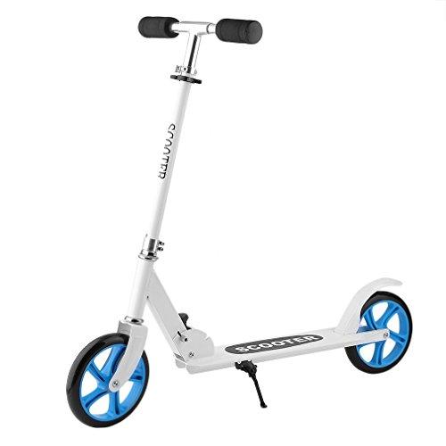 Homgrace Big Wheel Scooter 205 mm Trottinette Pliable en Aluminium Réglable en Hauteur Kick Scooter pour Adultes et Enfants 10 Ans+, Charge 100KG (Blanc)