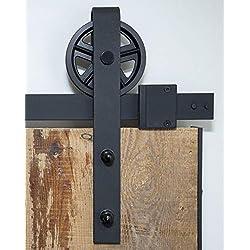 Système de porte coulissante - Roulette à rayons - 200 cm - Ensemble complet avec roulettes et rail - 2 mètres - Système de porte coulissante