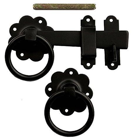Bulk Hardware BH01807 Gate Door Latch Smooth Ring, 150mm (6 inch) - Black Japanned