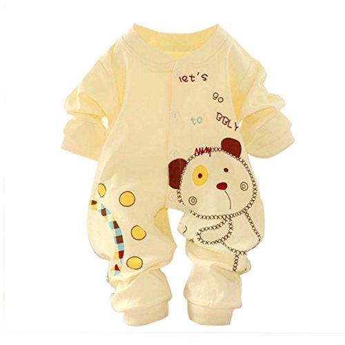 Koly Baby Kids Boy Girl Infant Romper Jumpsuit Bodysuit Cotton Clothes (0-3M, Yellow)