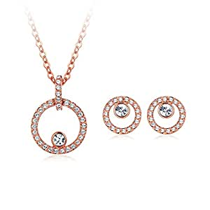 c28830c3c Image Unavailable. Image not available for. Colour: MYJS Halo Creativity  Circle Stud Necklace Earrings ...