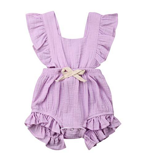 Aoweika 3-24 Monat Kleinkind Baby Mädchen Outfits Einfarbig Strampler Ärmellos Spielanzug Baby Toddler Kinder Strampler Baby Neugeborenes Kinderkleidung
