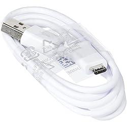 Samsung Câble de données Chargeur Micro USB 2.0 100% d'origine ECB ECB-DU4AWE Galaxy S4/S6Edge, Galaxy S5, Galaxy Note 4/Blanc
