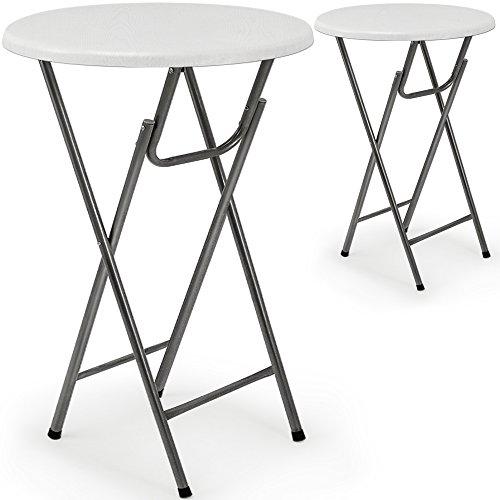Deuba 2 x Table Haute Pliable - Table de Bar Pliante en MDF Blanc Aspect de Bois