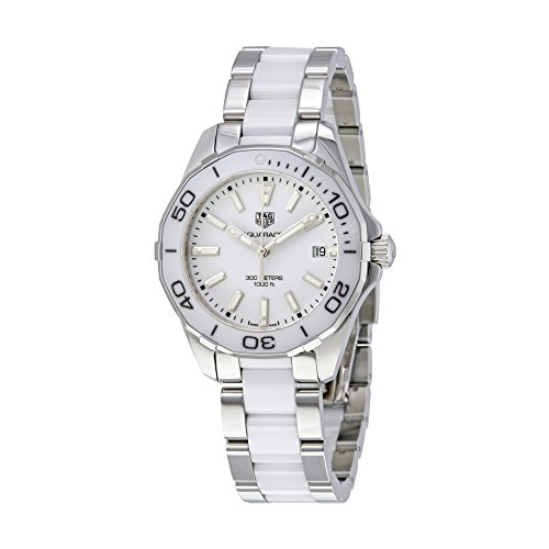 TAG Heuer Women's Aquaracer 35mm Two Tone Ceramic Band Steel Case Quartz White Dial Watch WAY131B.BA0914