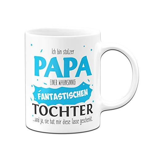 Tassenbrennerei Tasse Papa Tochter - Stolzer Papa - Geschenk für Vater Papa (Weiß)